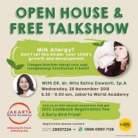 "Open House & Free Talkshow ""Milk Allergy"" at Jakarta World Academy"